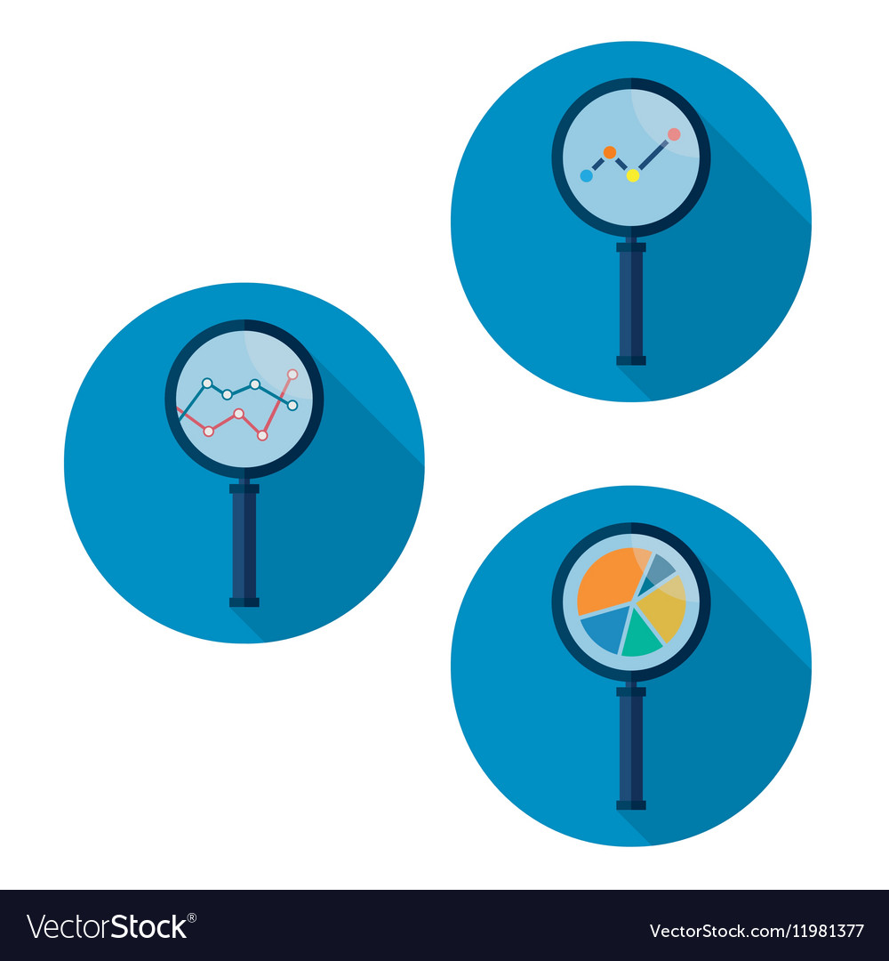 Set icons business analysis with magnifying glass vector image