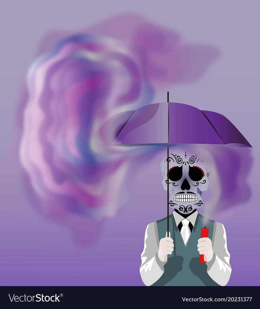 Skull holding an umbrella