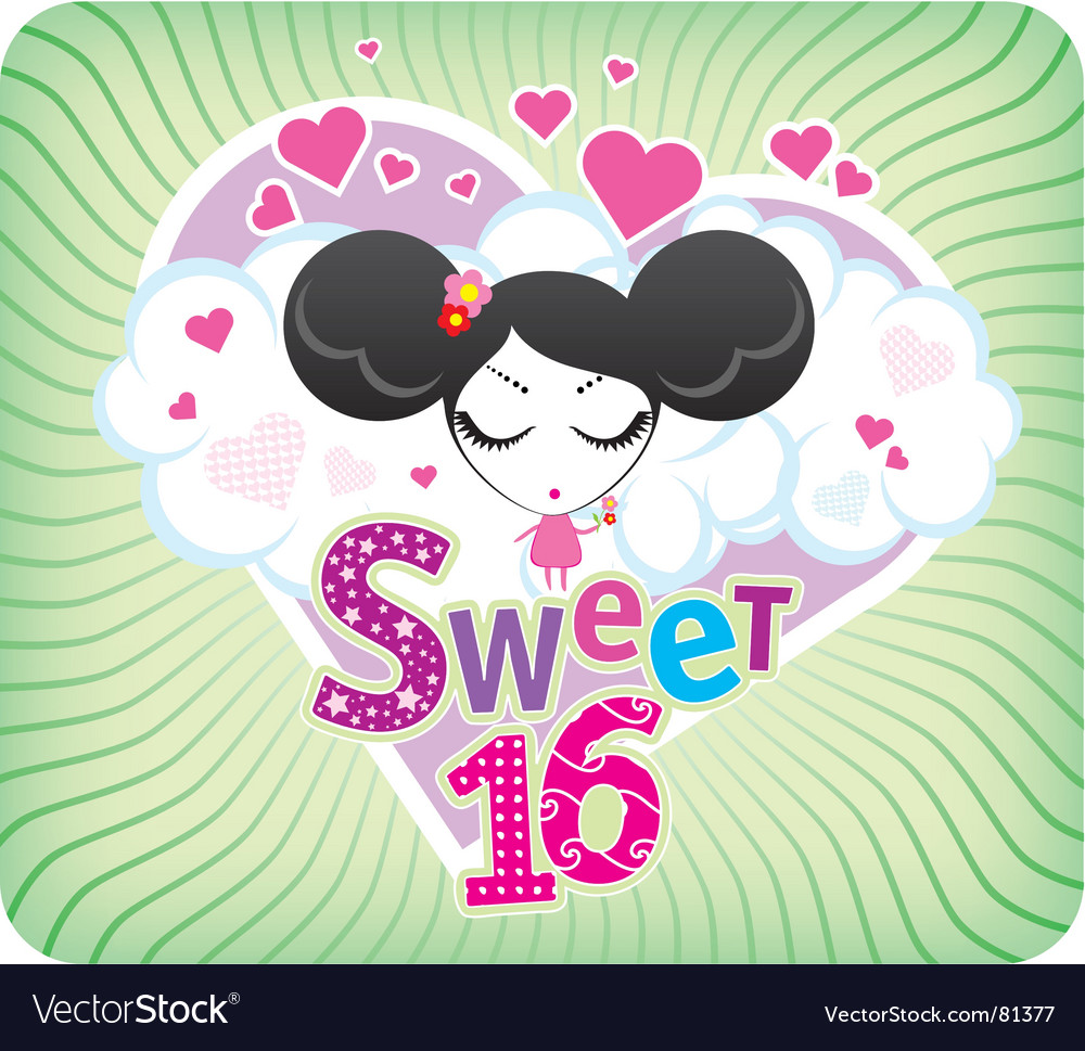 Sweet Sixteen Greeting Card Royalty Free Vector Image