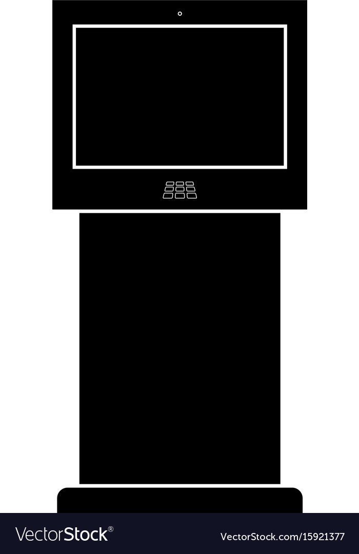 Terminal stand with touch screen black color icon vector image