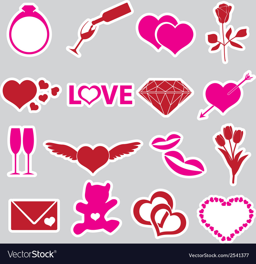 valentines day and love stickers eps10 royalty free vector