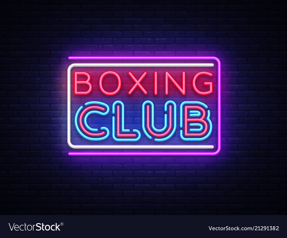 Boxing club neon sign boxing text design