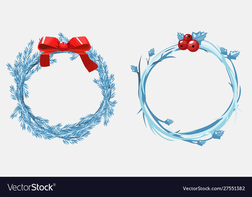 Christmas wreaths pine branches decorated with