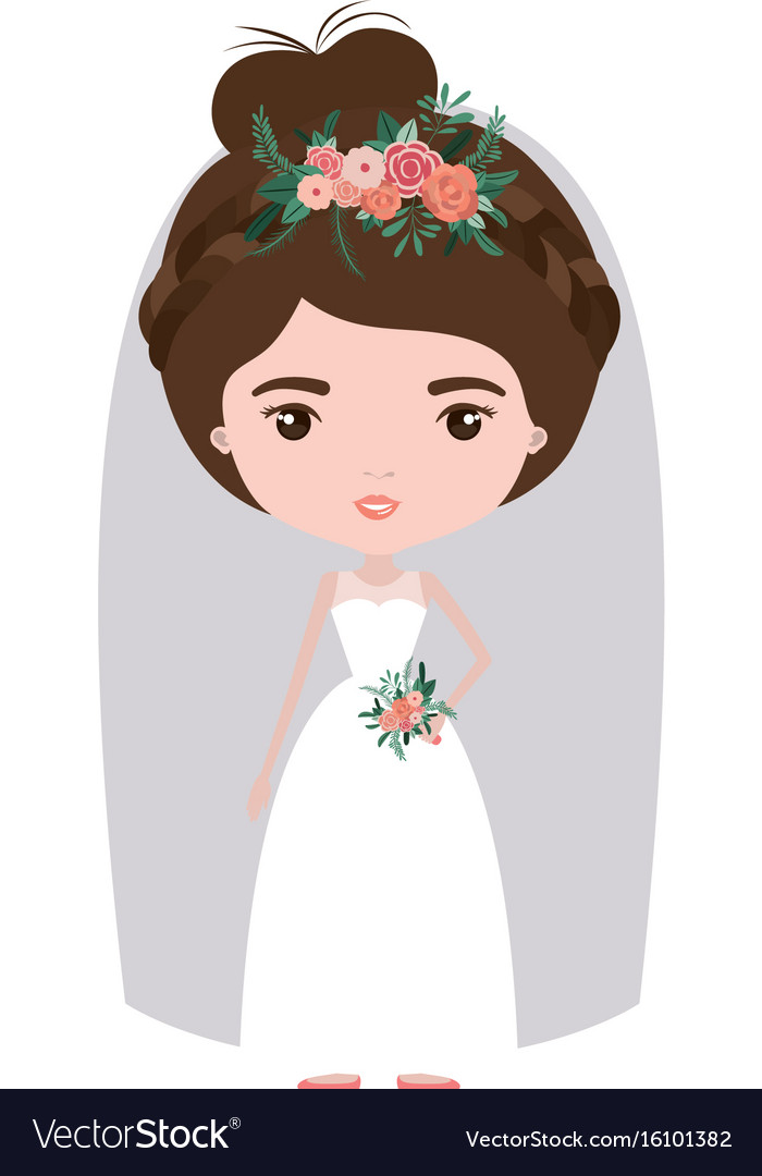 Colorful caricature cute woman in wedding dress