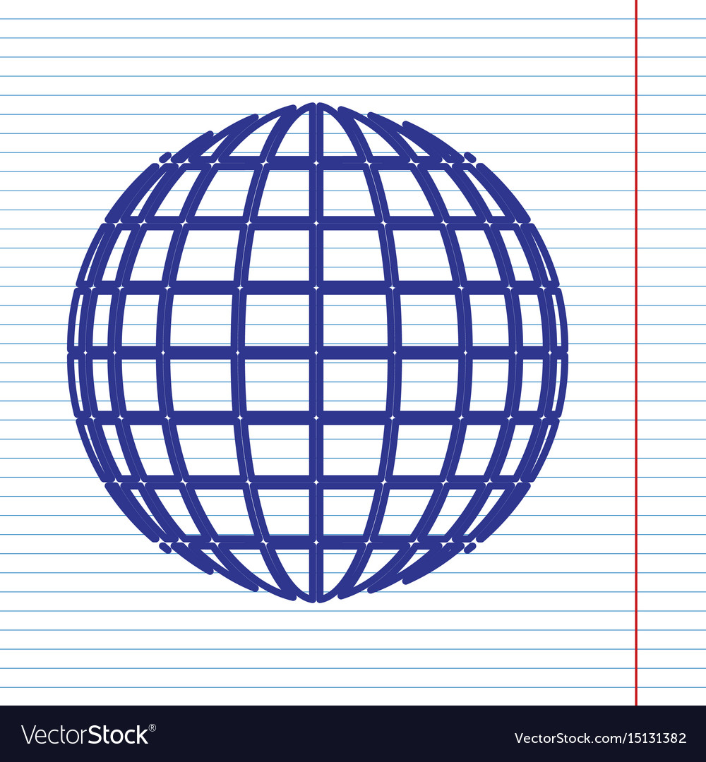 Earth Globe Sign Navy Line Icon On Vector Image