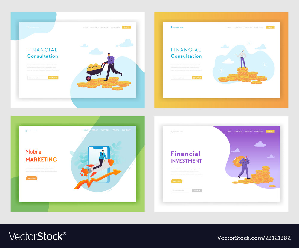 Financial investment business success landing page