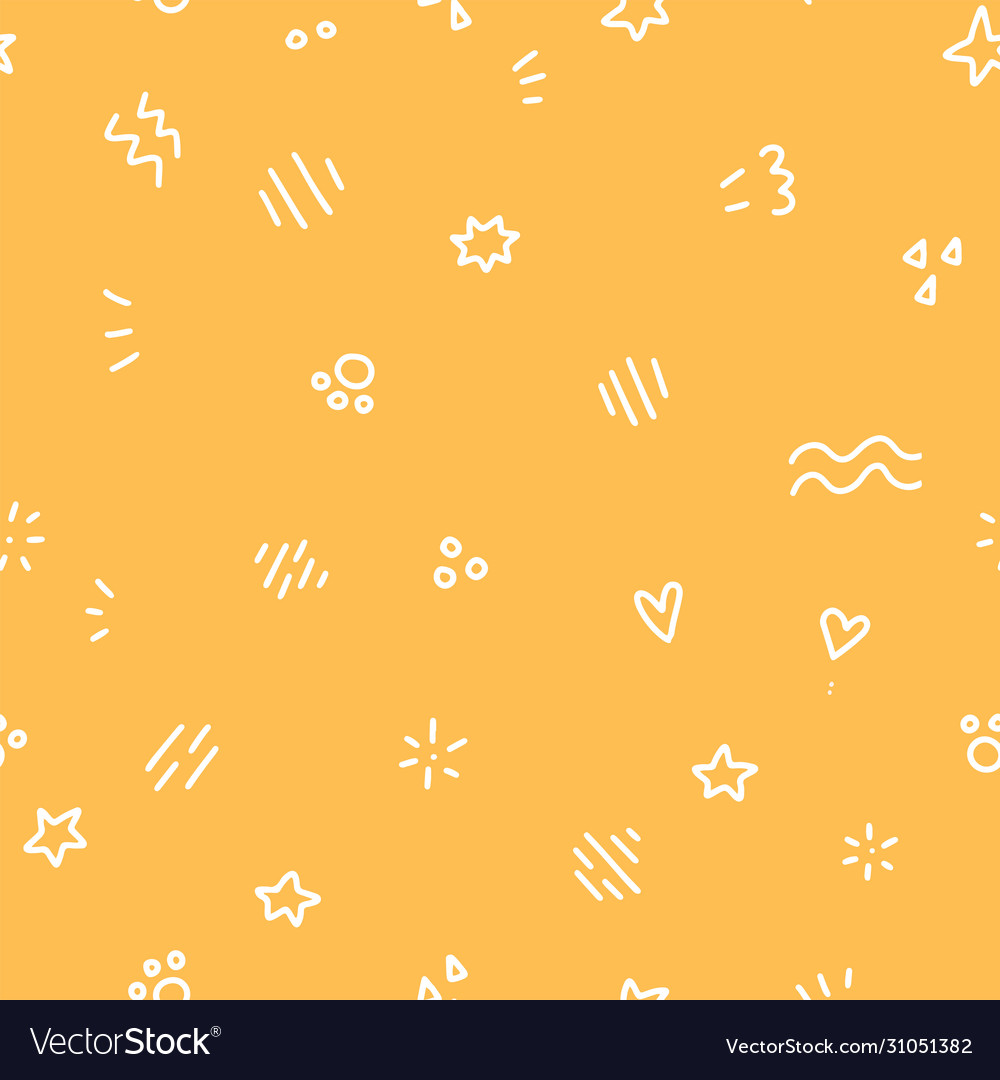Geometric seamless pattern with white doodle