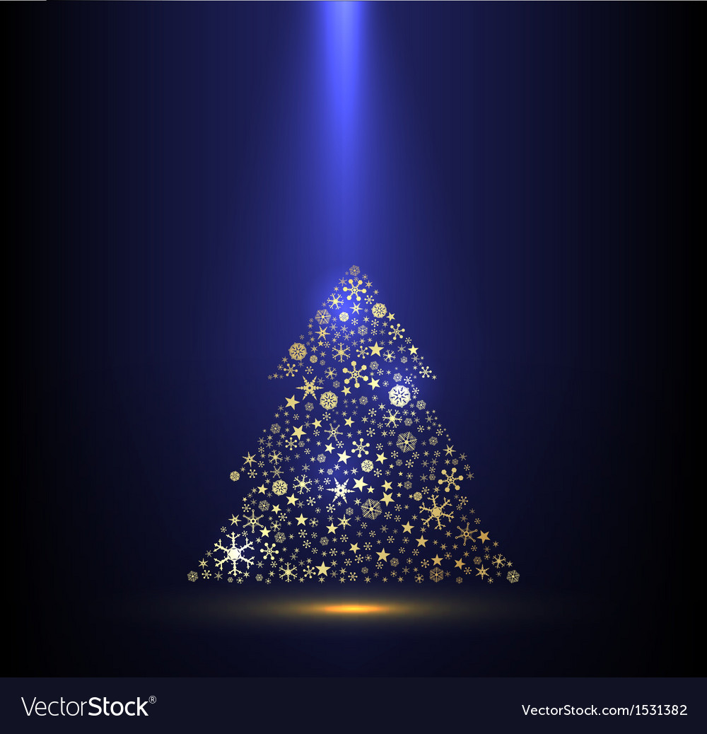 Gold And Blue Background With Christmas Tree