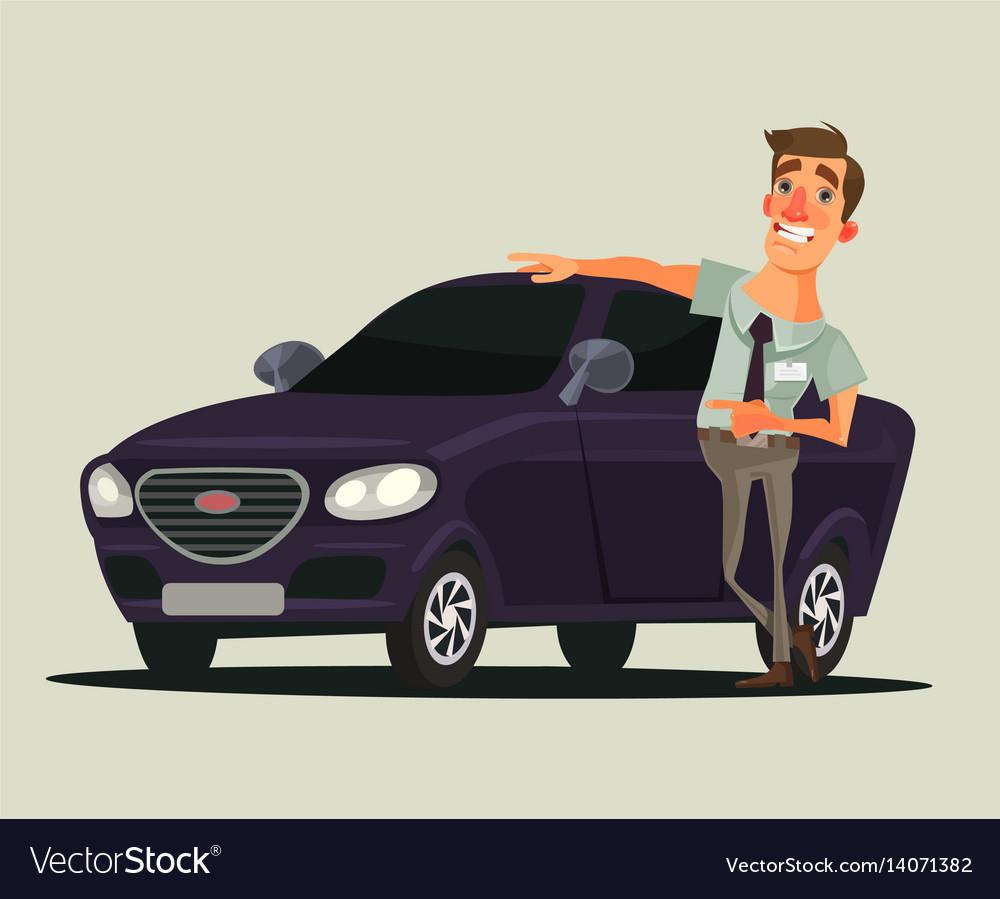 Seller Car >> Happy Smiling Car Dealer Seller Man Character Vector Image