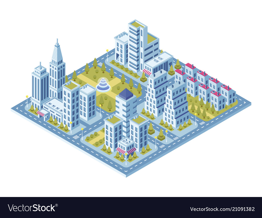 Modern city buildings police station road with vector image
