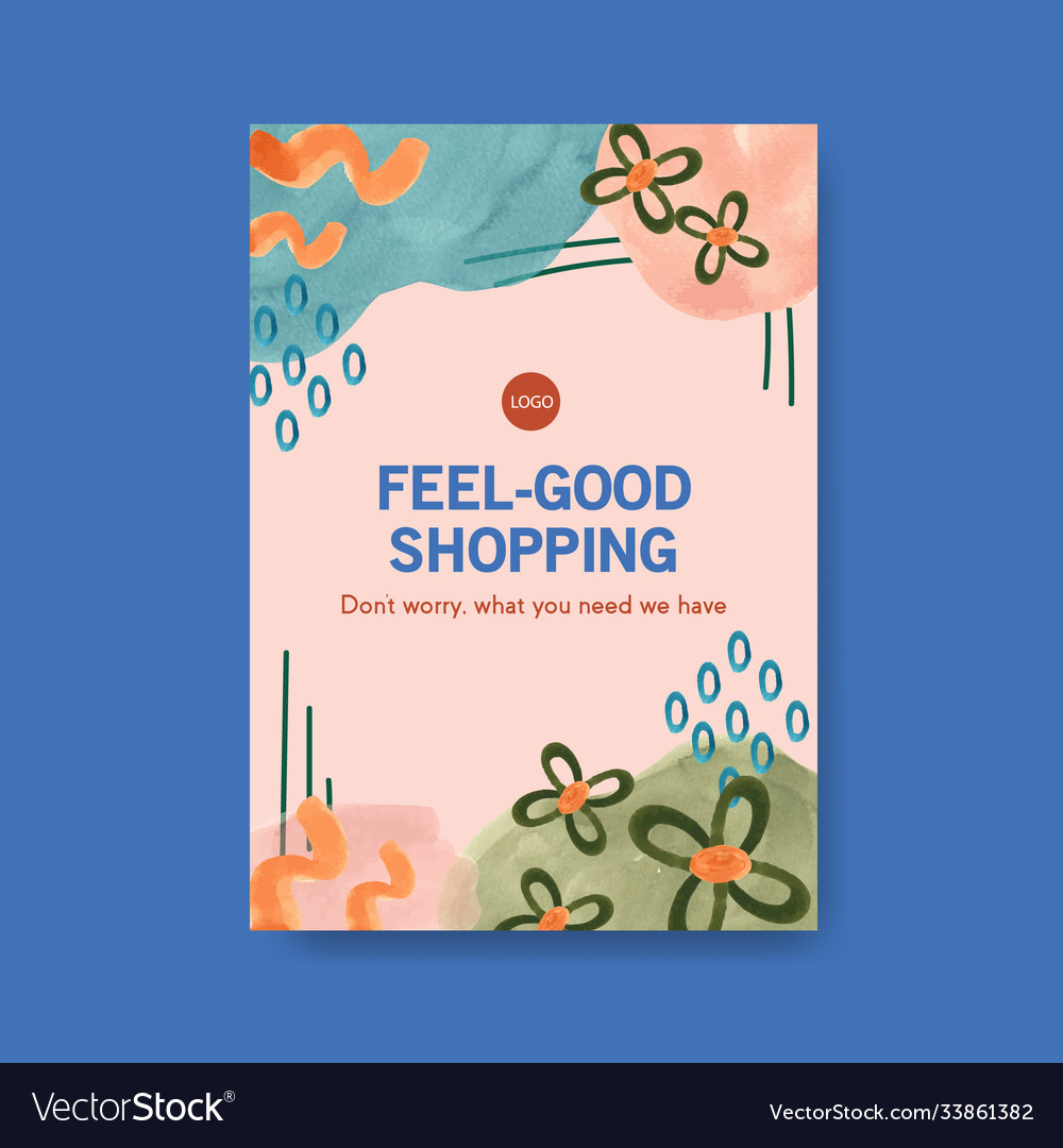 Poster template with shopping design for brochure