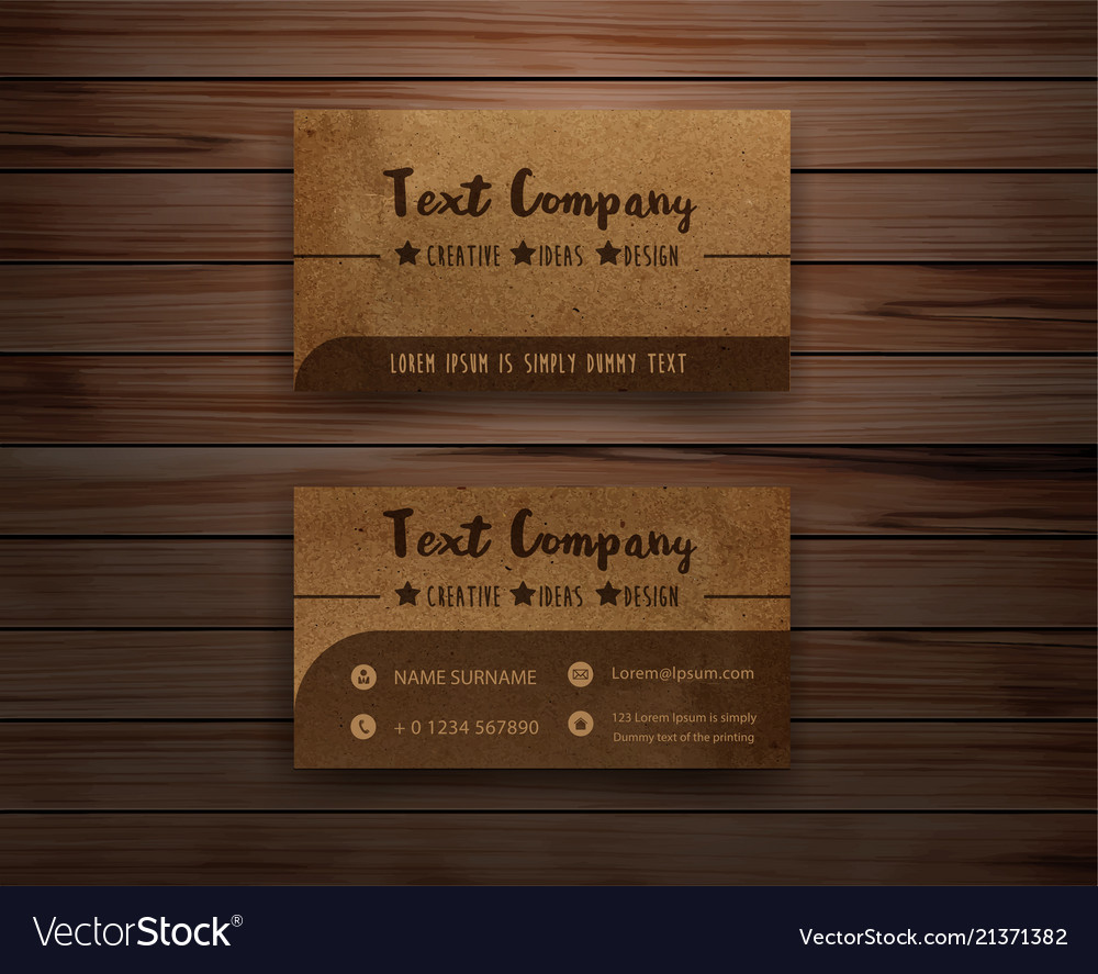 recycled paper business cards on wooden background vector image - Recycled Paper Business Cards