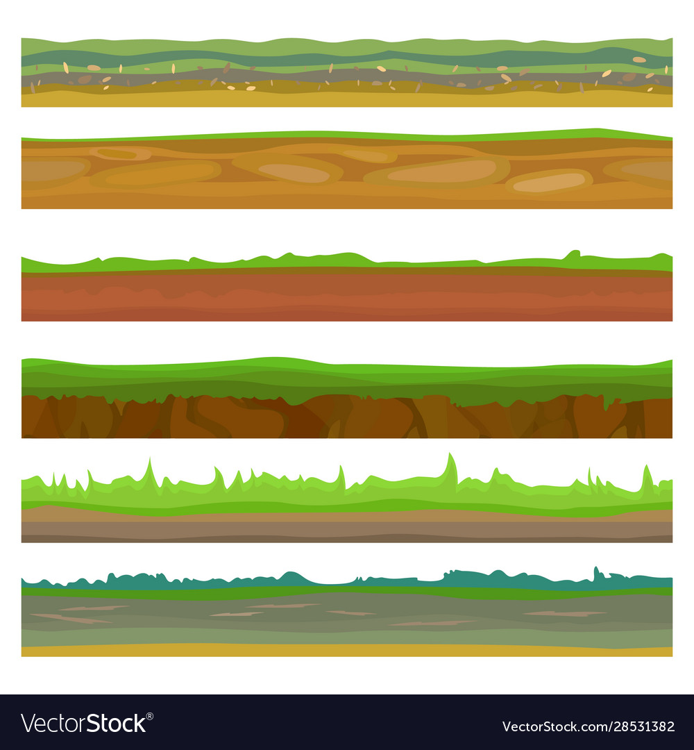 Seamless different grounds soils and land set