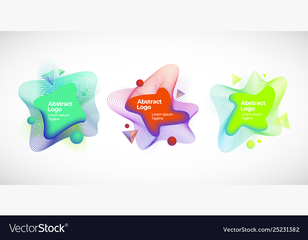 Set abstract geometric liquid banners