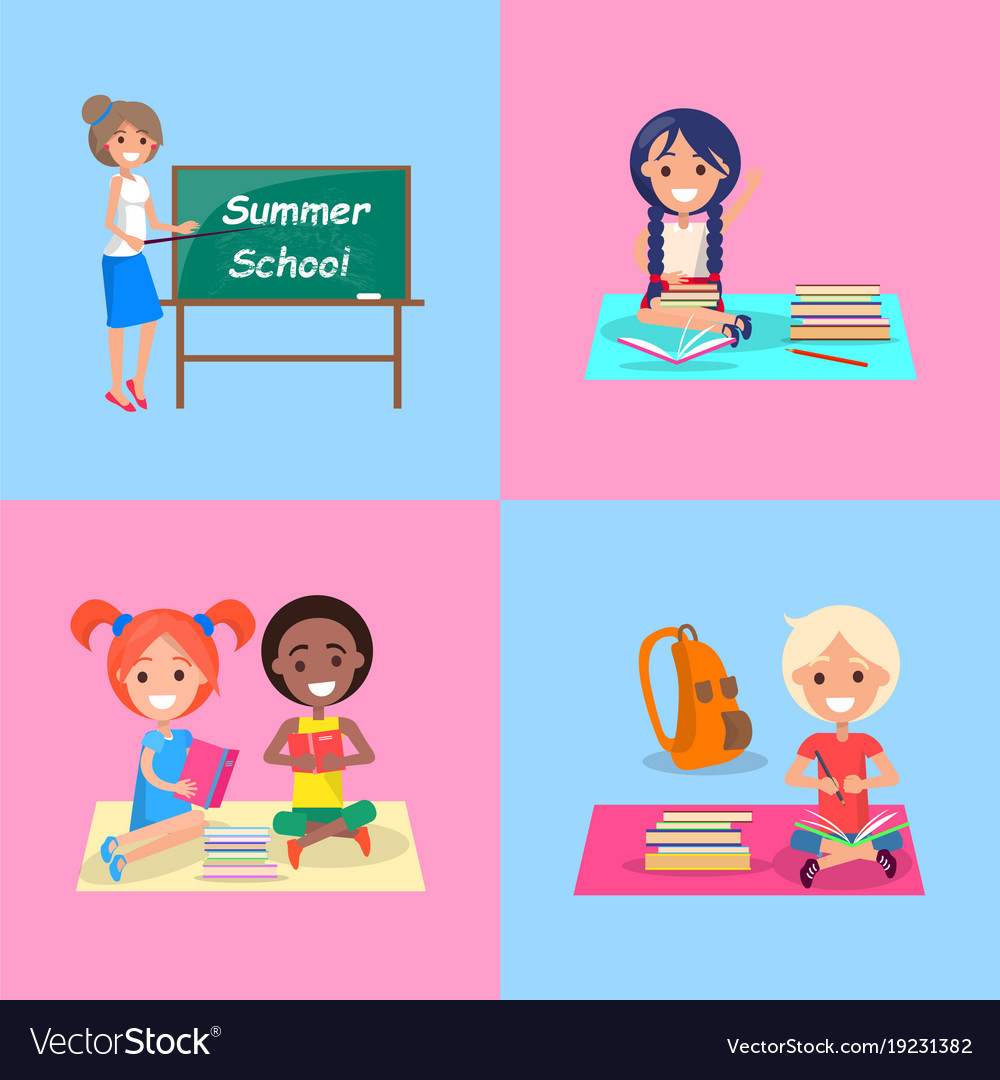 c955c4b2aeb5 Summer school set of posters with kids and teach