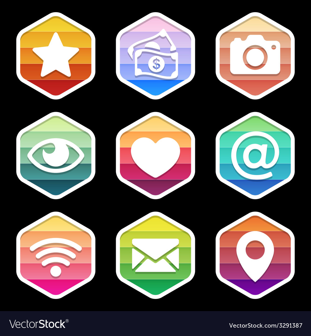 Application Icons trendy Design on black