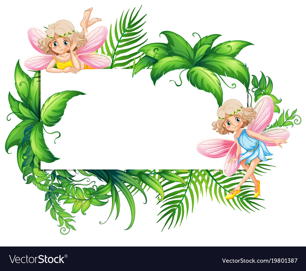 border template with two fairies in garden vector image