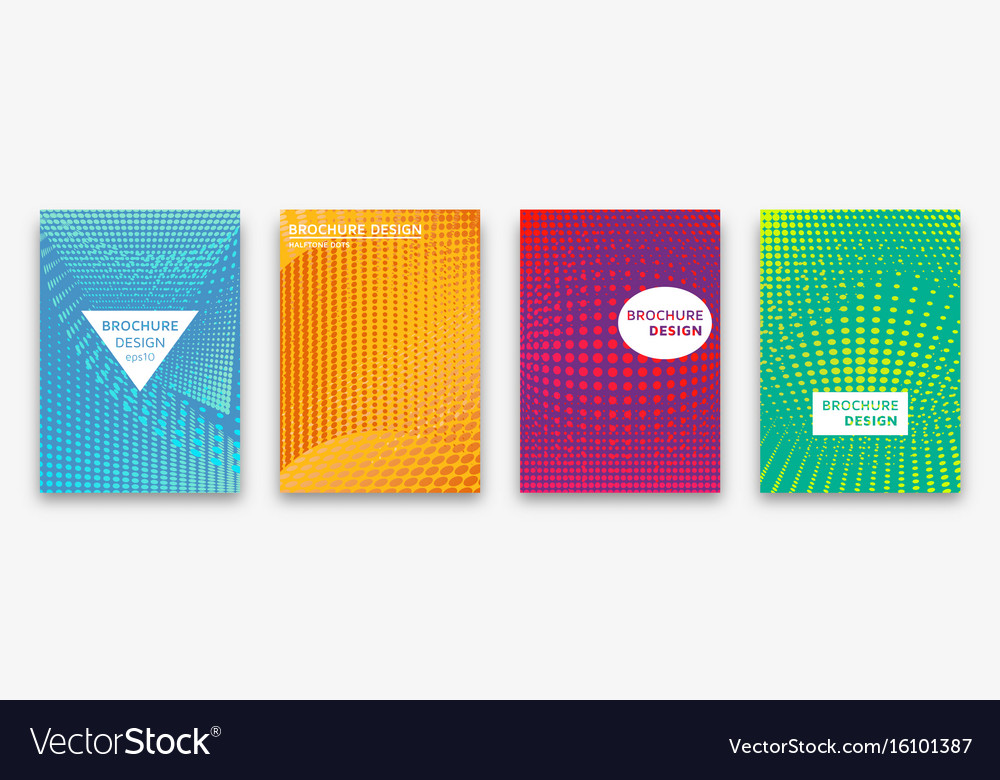 Brochure design with halftone dots and neon