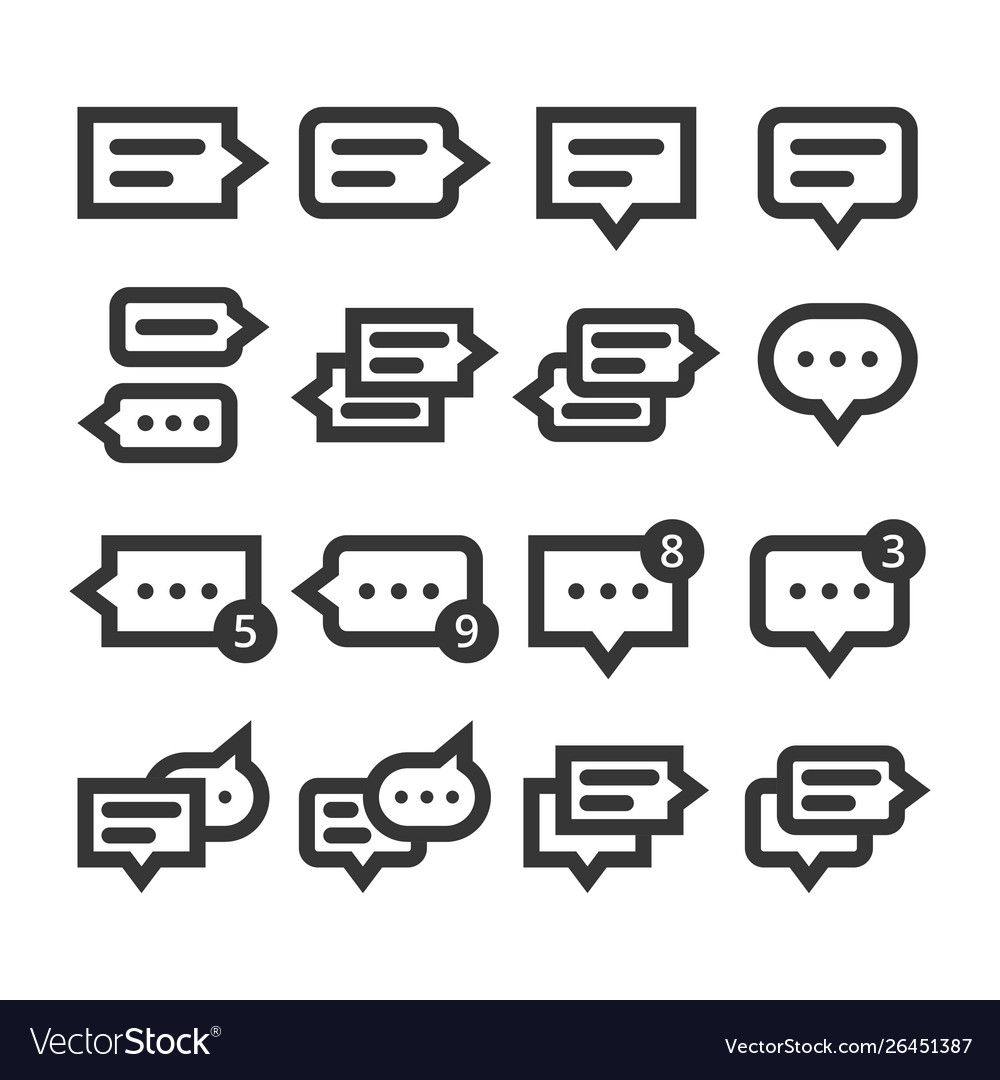Chat speech bubbles and dialog balloons line style