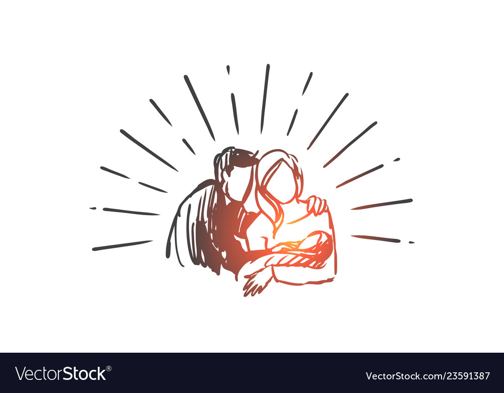 Father mother happy child newborn concept