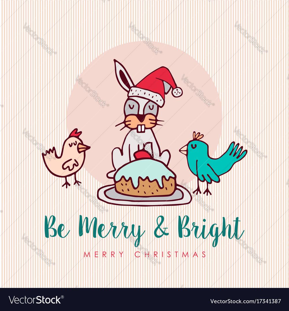 Merry Christmas Animals.Fun Christmas Animal Cartoon Holiday Greeting Card