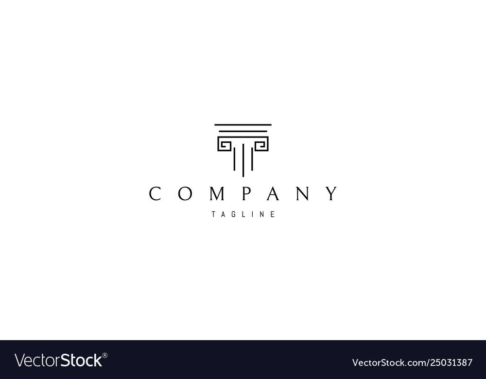 Greek column line abstract logo design