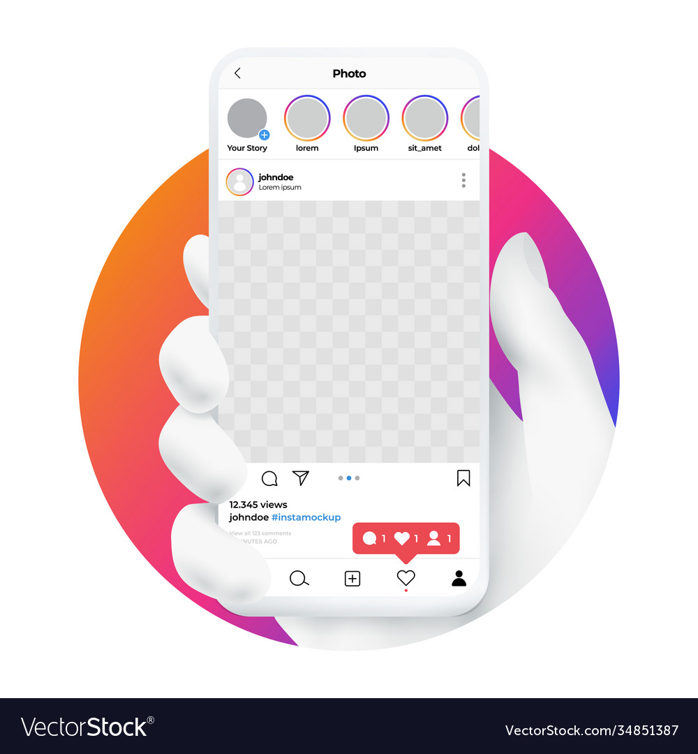 Hand holding smartphone with mobile social media