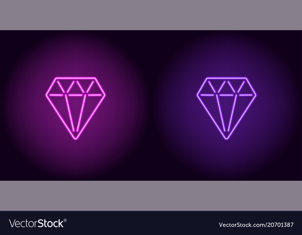 Neon diamond in purple and violet color