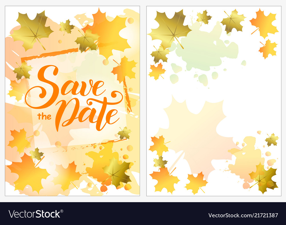 save the date with orange and golden maple leaves vector image