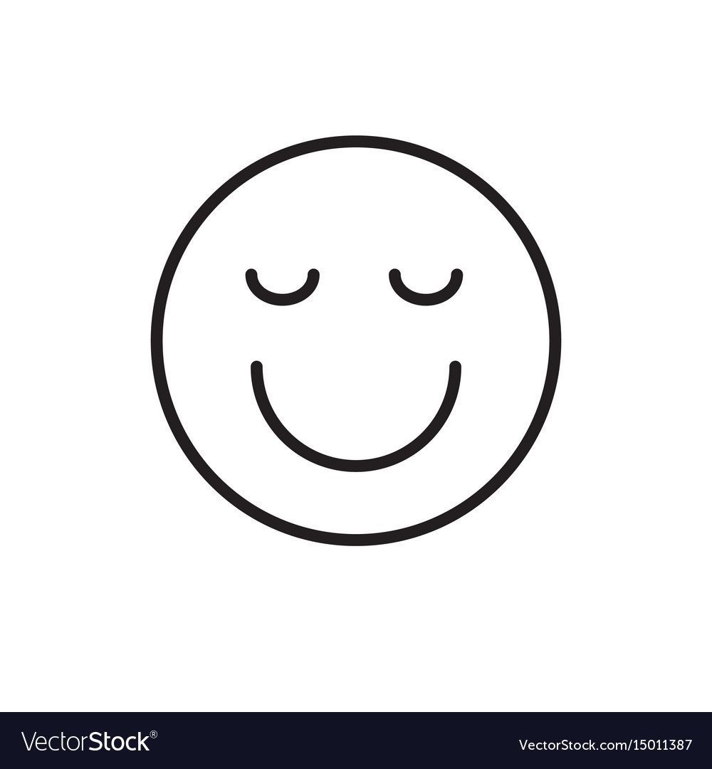 Smiling cartoon face closed eyes positive people