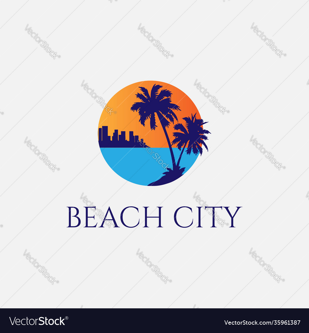 Sunset palm beach city silhouette logo design