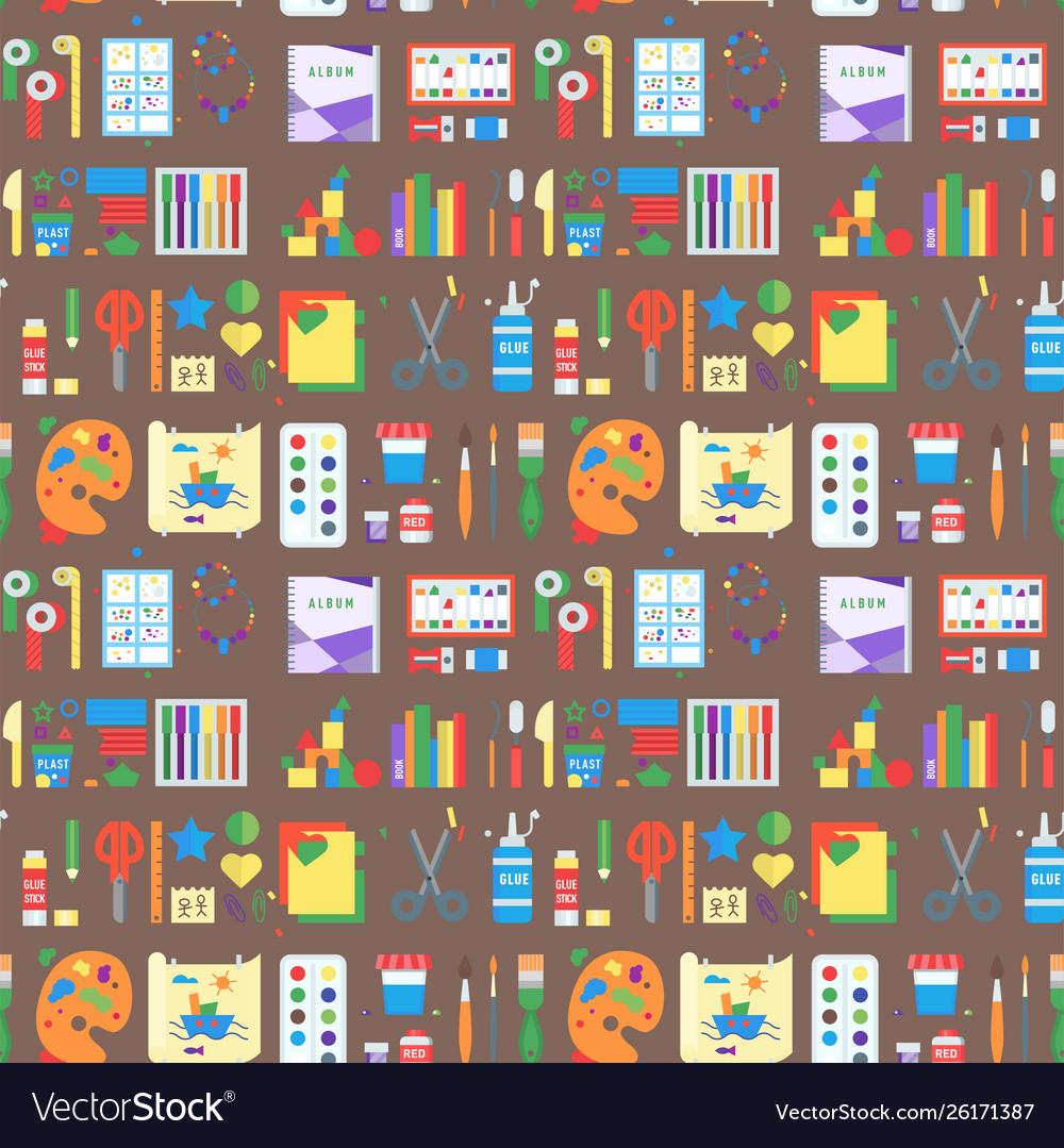 Themed kids creativity creation seamless pattern