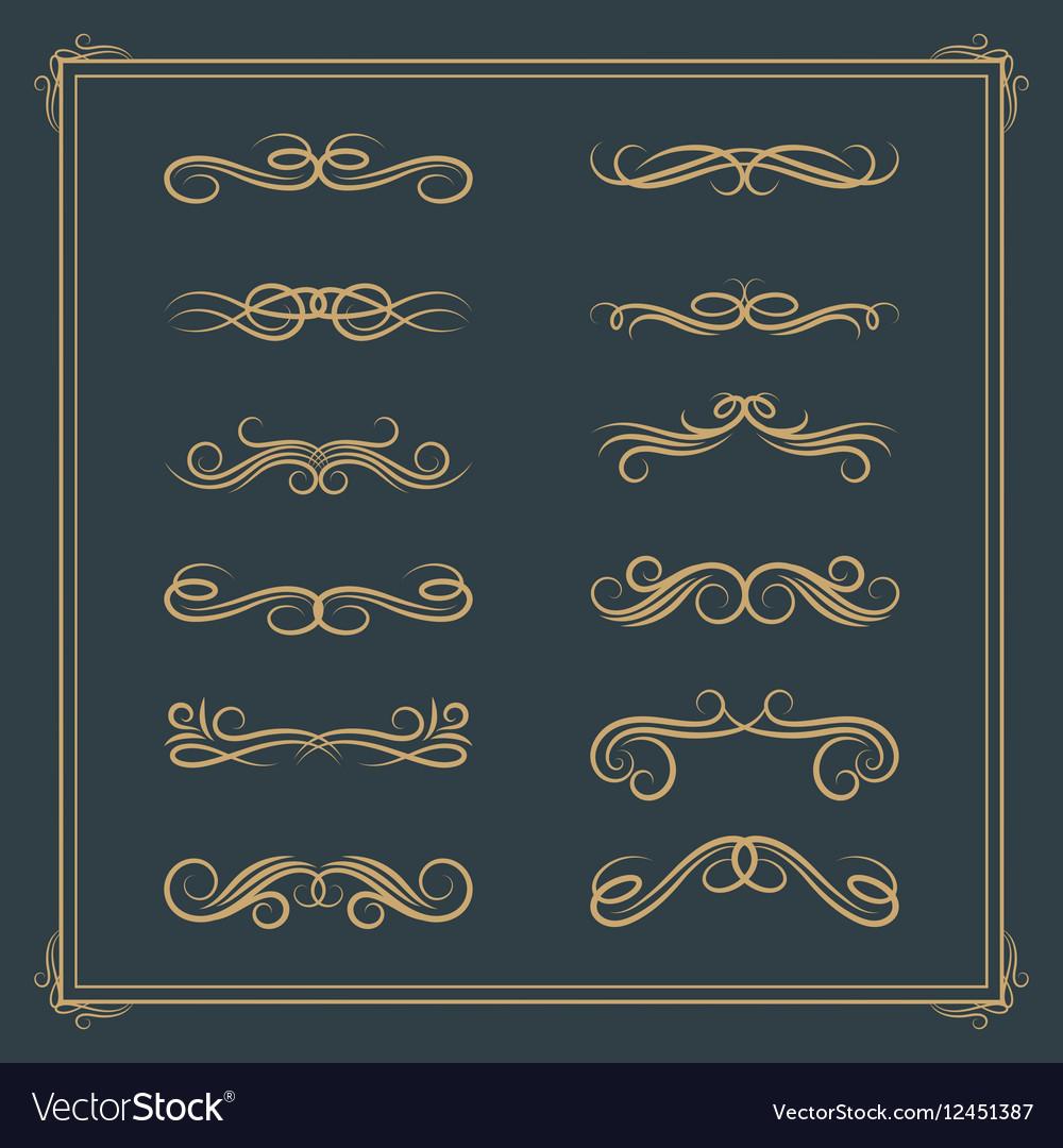 Vintage retro calligraphic design elements scroll vector image