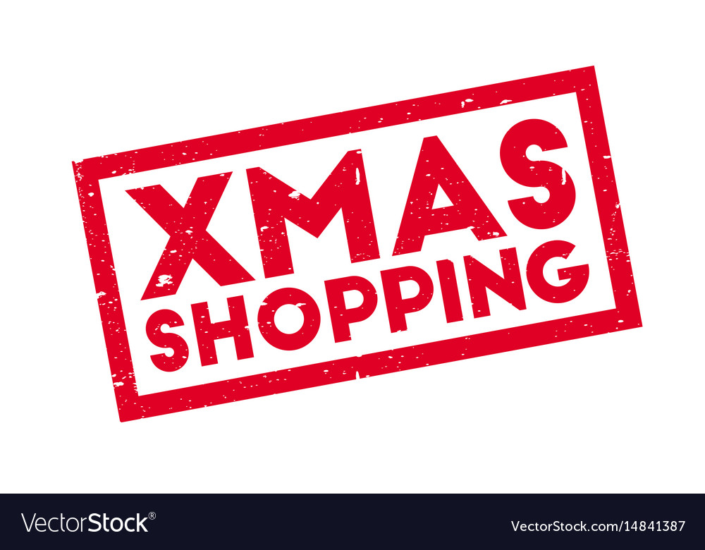 Xmas shopping rubber stamp vector image