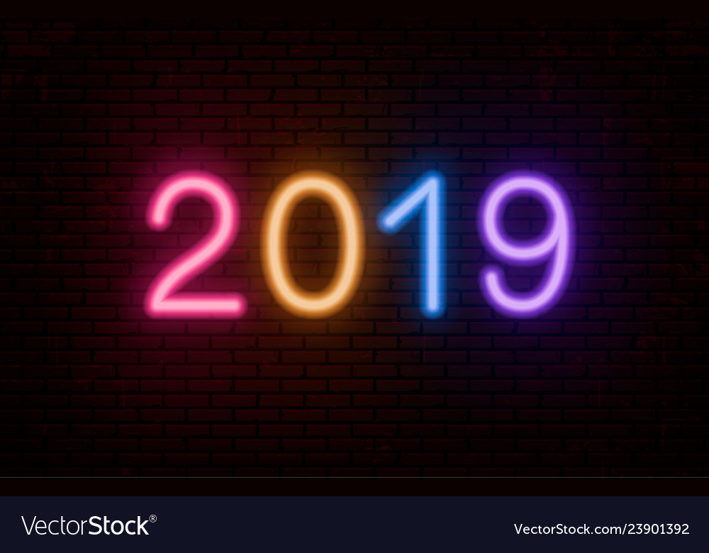 2019 multicolored neon numbers