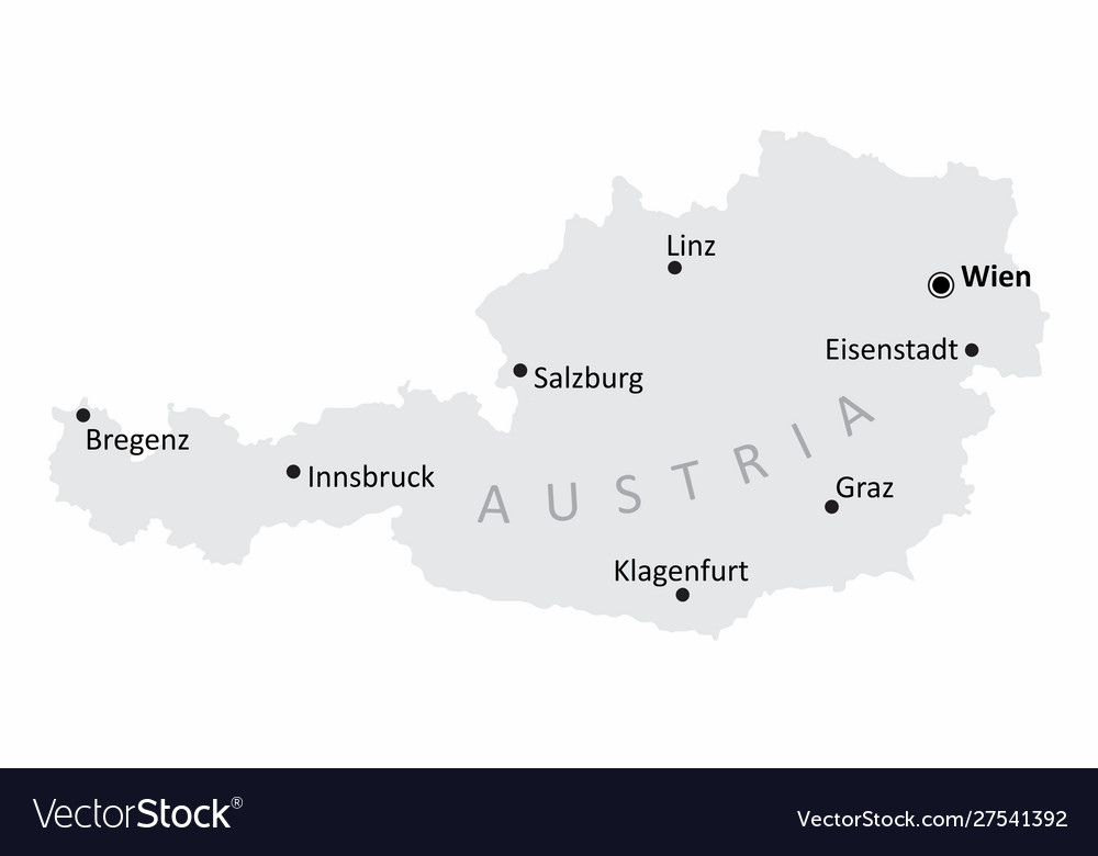 map of austria with cities Austria Cities Map Royalty Free Vector Image Vectorstock map of austria with cities