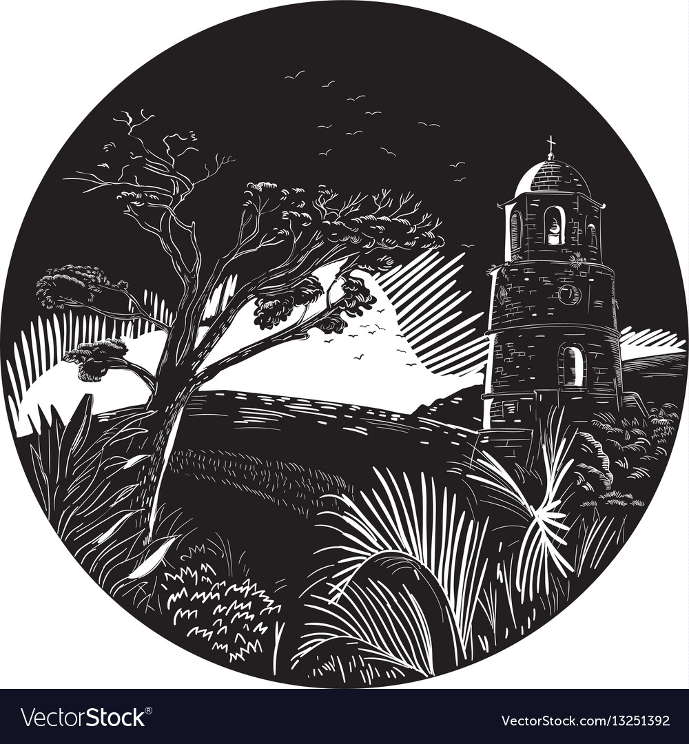Belfry tower on hill trees circle woodcut
