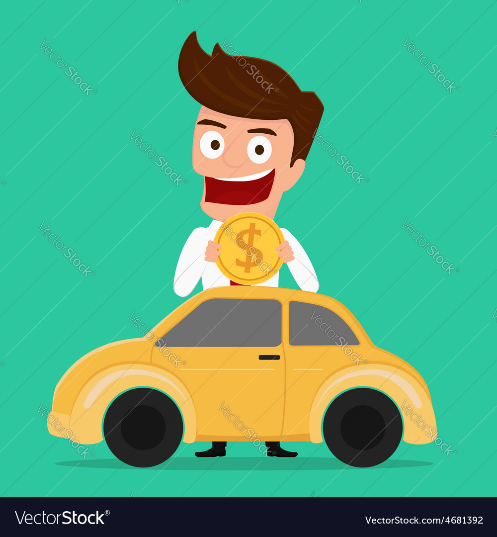 Businessman putting coin inside the car