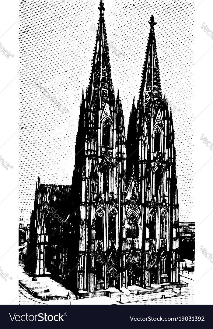 Cologne Cathedral Klner Dom Vintage Engraving Vector Image