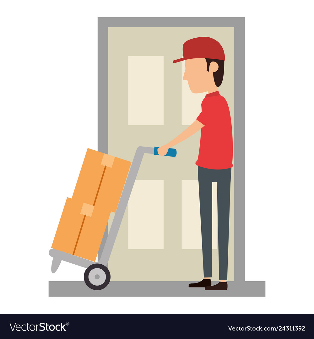 Delivery worker with cart and door