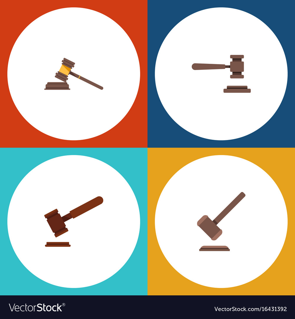 Flat icon hammer set of legal justice tribunal vector image