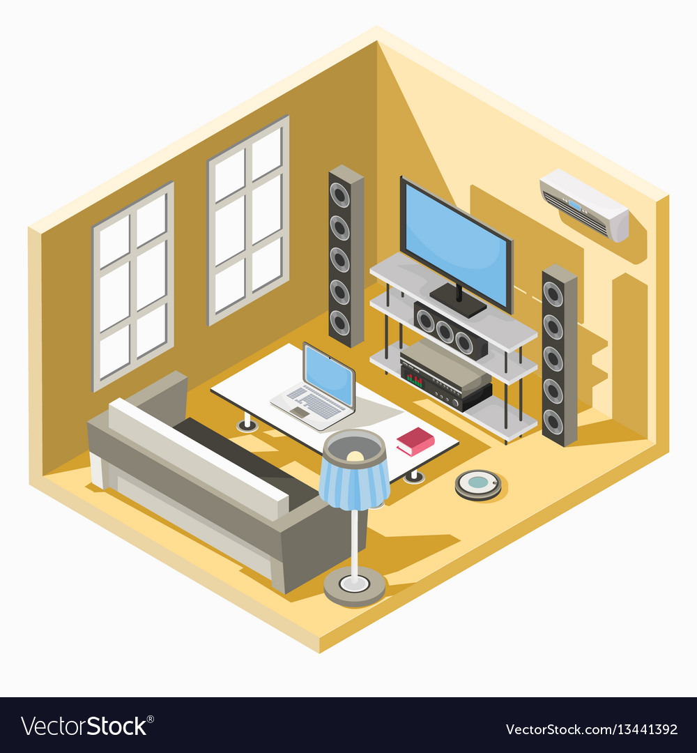 Isometric design of a living room with a