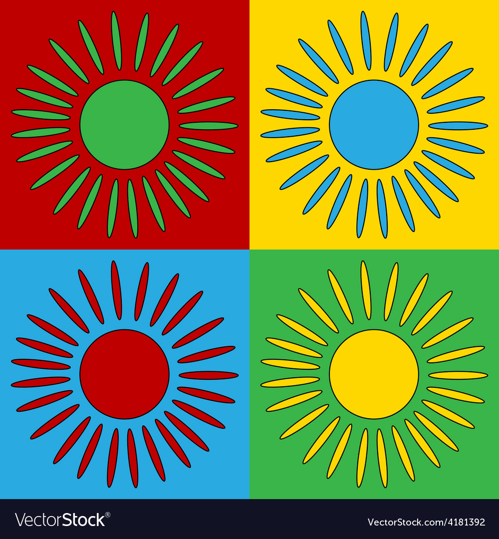 Pop art sun icons