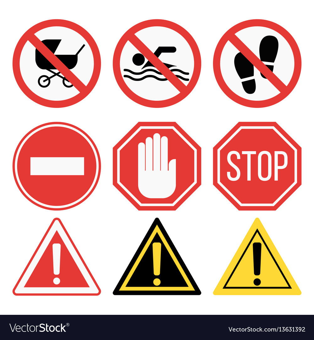 Prohibition signs set safety information