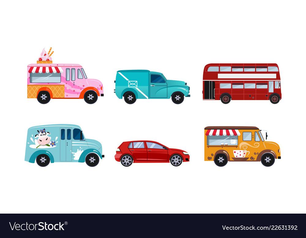 Transportation vehicles set urban public and