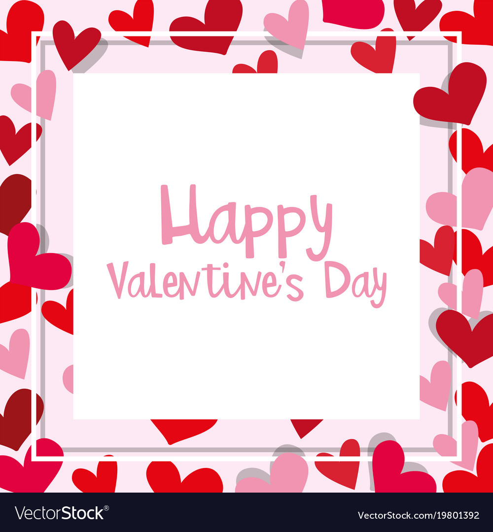 valentine card template with heart frame vector image