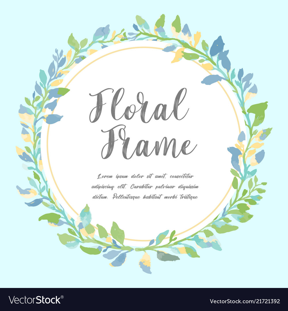 Watercolor floral frame beautiful wreath