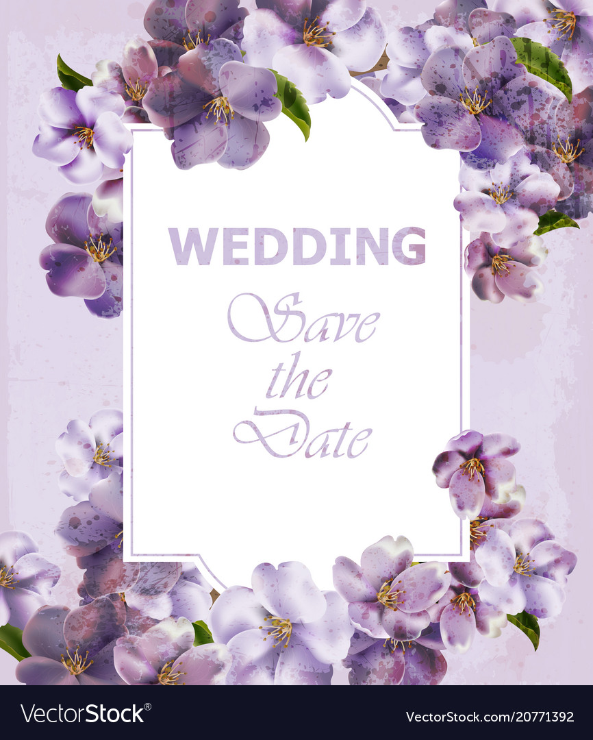 Wedding Invitation Purple Card Spring Royalty Free Vector