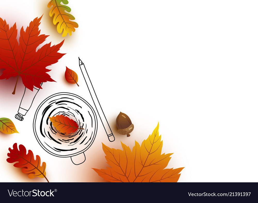 Autumn concept of coffee cup sketch and leaves