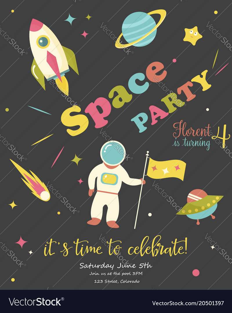 Birthday party card with cosmic objects vector image